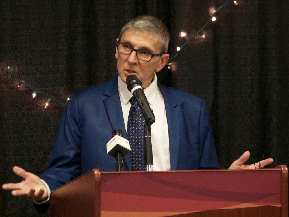 Jim Baba speaking at his induction into the Moose Jaw and District Sports Hall of Fame on Saturday. Photo Credit: Marc Smith