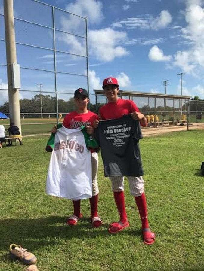 Luke Shalin after the jersey exchange with a player from Mexico. Phhoto: Reyna Stevenson.