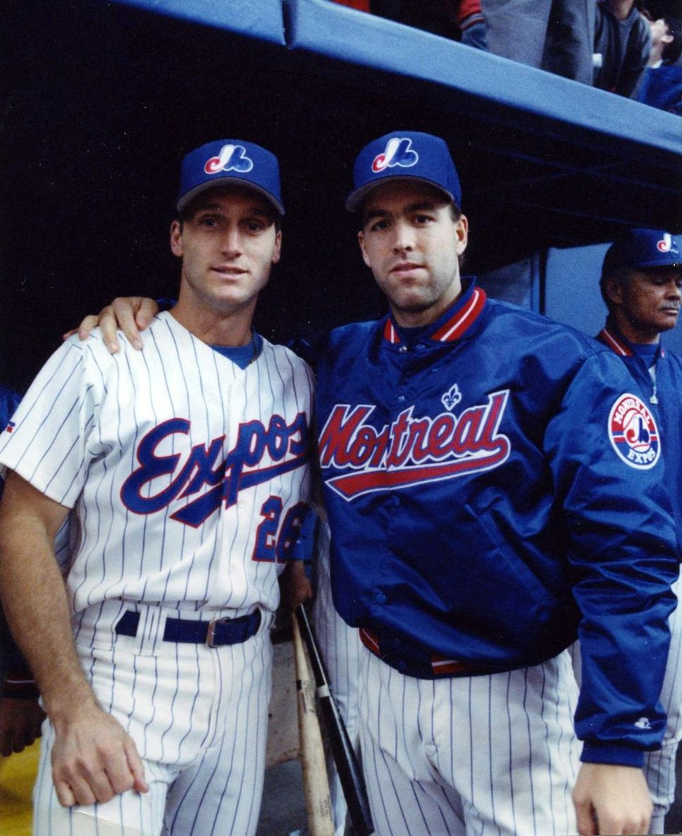 Siddall (left) and Denis Boucher combined to make Canadian baseball history on September 6, 1993 at Olympic Stadium.
