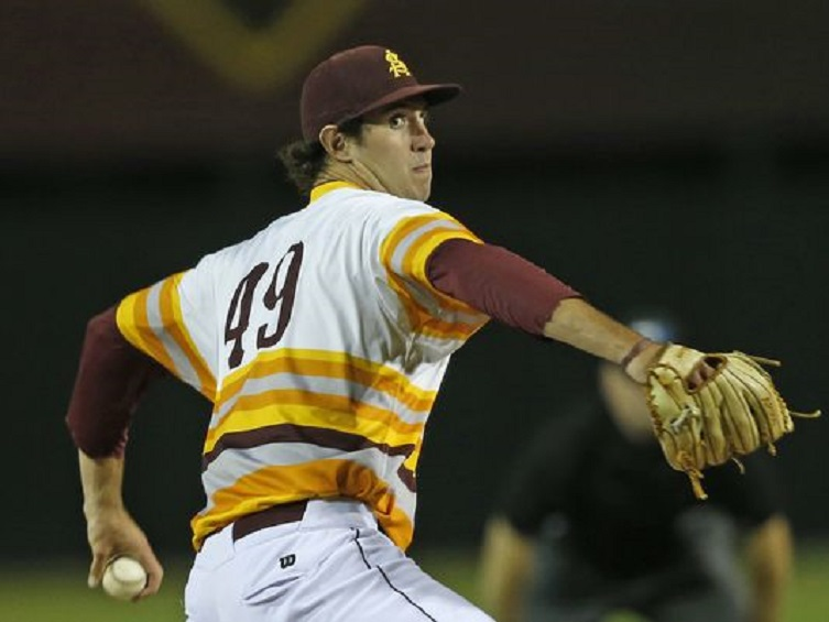Former Ontario Prospects LHP Ryan Kellogg (Whitby, Ont.) of the Arizona State Sun Devils