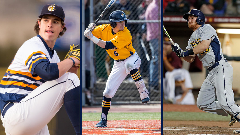 Former Canisius Griffins J.P. Stevenson (New Glasgow, P.E.I.) (left) and Liam Wilson (Ayr, Ont.) (right), along with current Griff Conner Morro (Cheltenham, Ont.), were named to the Canadian Baseball Network's All-Canadian Team. Photo Credit: Canisius Athletics