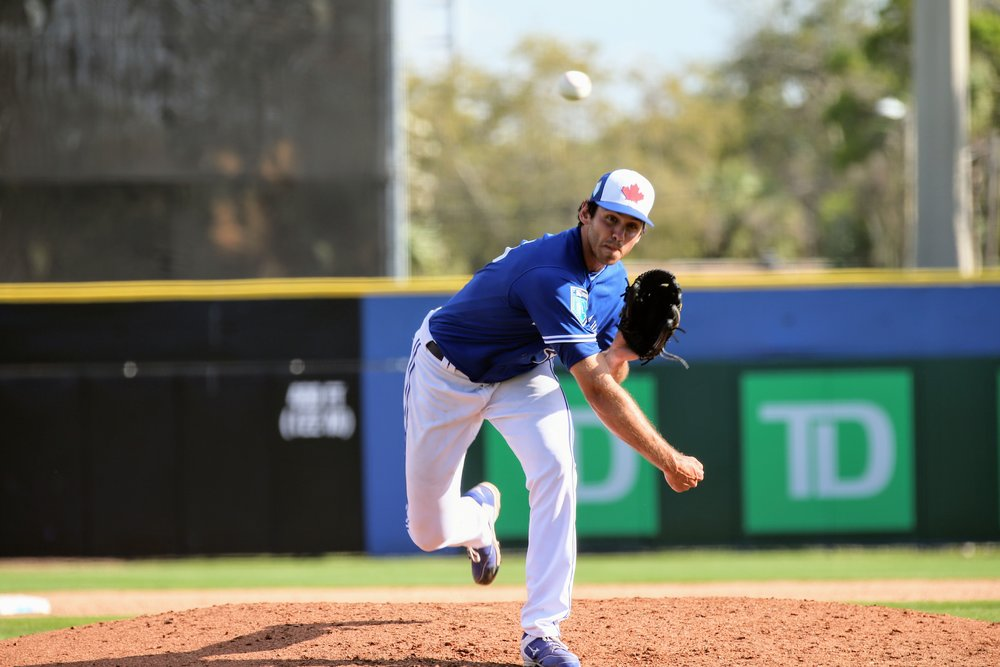 Former Ontario Blue Jay and Markham, Ont., native Jordan Romano, shown here pitching for Toronto Blue Jays in spring training, had an all-star season with the double-A New Hampshire Fisher Cats in 2018. Photo Credit: Amanda Fewer