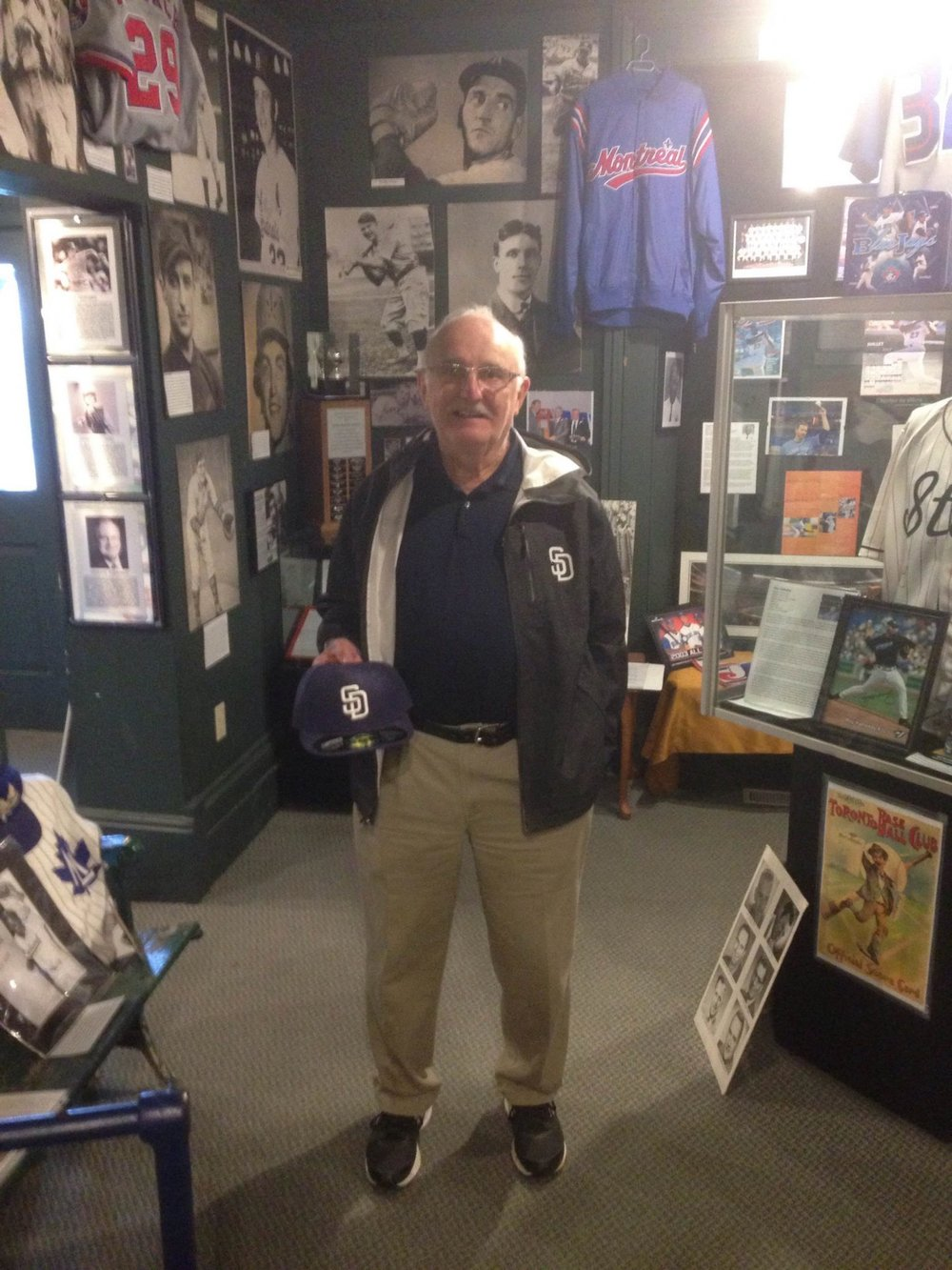 Longtime big league scout Murray Zuk (Souris, Man.) turns 79 today. Here he is visiting the Canadian Baseball Hall of Fame. Photo Credit: Canadian Baseball Hall of Fame