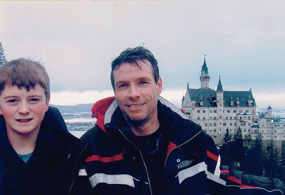 Cody Malloy and his father Kevin Malloy in Europe in January of 2008.