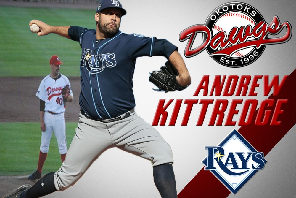 Right-hander Andrew Kittredge became the second Okotoks Dawgs alum to play in the big leagues when he was recalled by the Tampa Bay Rays in July 2017. Photo Credit: Okotoks Dawgs