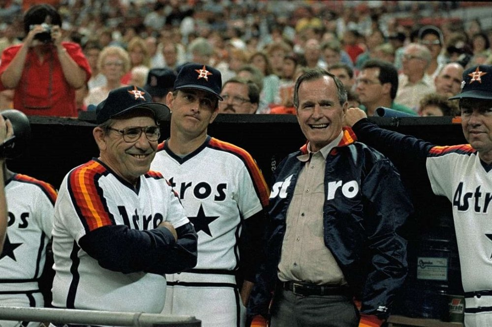 Hall of Famers Yogi Berra and Nolan Ryan with the late President George H. W. Bush.