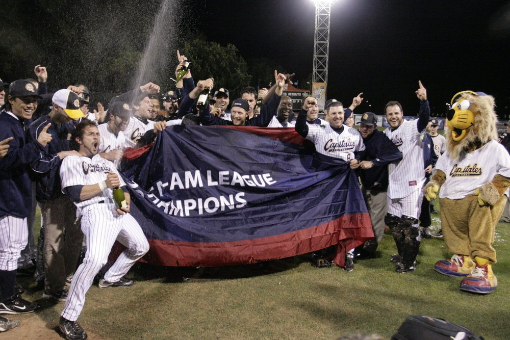 Players on the 2009 Quebec Capitales team celebrate their 2009 Can-Am League championship. Photo Credit: Quebec Capitales/Twitter