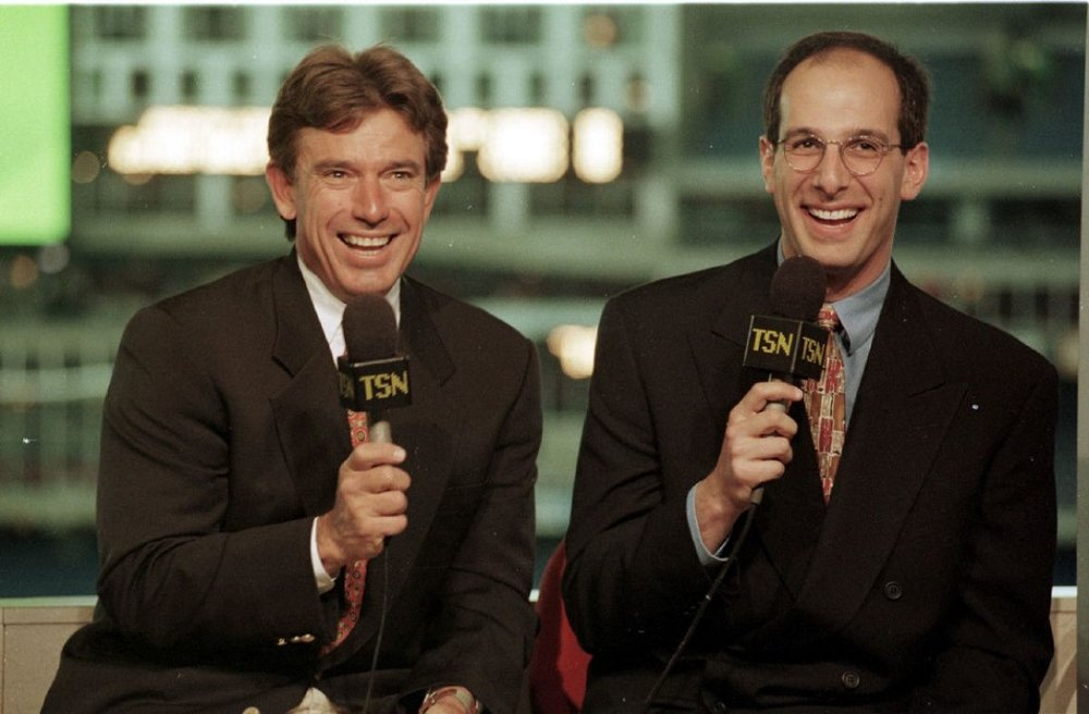 Like their happy TSN days …. the band is back together: Buck Martinez, left and Dan Shulman (Toronto, Ont.) on Sportsnet.