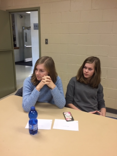Royal York players Miranda MacCormack (left) and Meghan MacCormick (right) participate in a discussion about girls' and women's baseball in Canada.