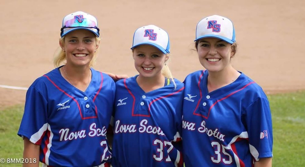 A photo of the all-female staff that coached one of the Nova Scotia teams that competed in the 16U national championships tournament held in the province in 2018. From left to right: Carly Jackson, Jill Stymest and Jenna Jackson.
