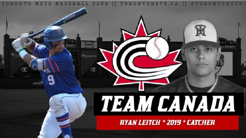 Toronto Mets grad Ryan Leitch (Whhitby, Ont.) doubled in a run as the Canadian Junior National Team lost to a team of New York Yankees first and second-year prospects.