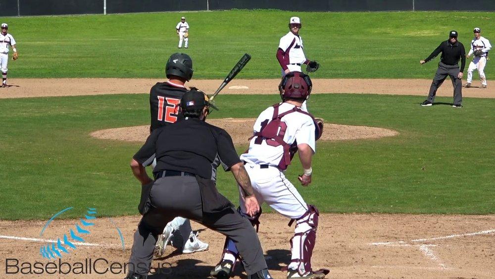 RBI Regina Baseball grad Spencer Davis (Regina, Sask.), shown on the mound in this photo, allowed just one run in 3 1/3 for Monterey Peninsula.