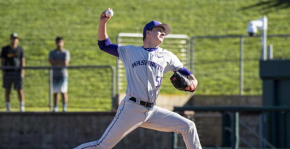 Langley Blaze alum David Rhodes (White Rock, BC) got the ball in Game 1 of the University of Washington Huskies Pac-12 series with the University of Southern California. Rhodes worked six scoreless innings and allowed just one hit in a 7-1 win. Photo: University of Washington Athletics