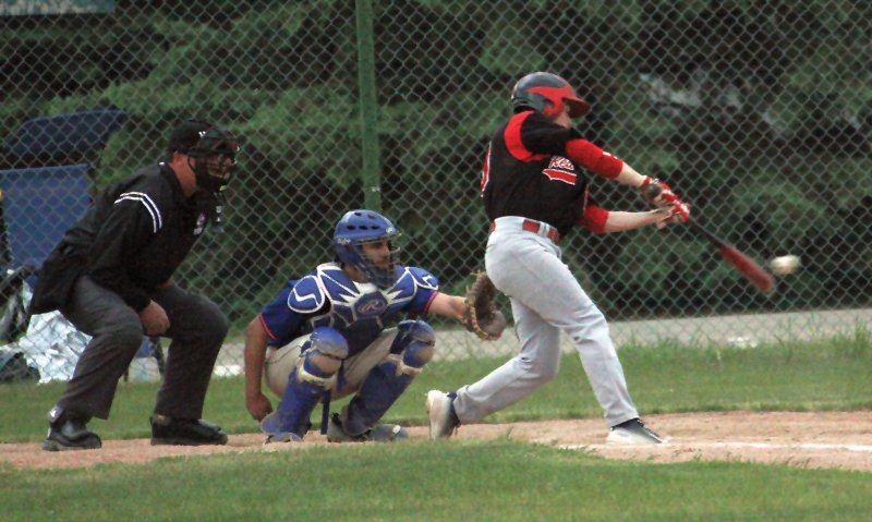 Westlock Red Lions alum Austin Watamaniuk (Westlock, Alta.) had seven hits - including a home run - for the Benedictine College Ravens this past week. Photo: Sean Steels/WN