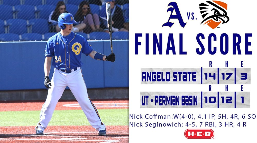 Victoria Mariners alum Nick Seginowich (Victoria, B.C.) belted a whopping five home runs and posted a 2.308 OPS over the past week. Photo: Angelo State Sports