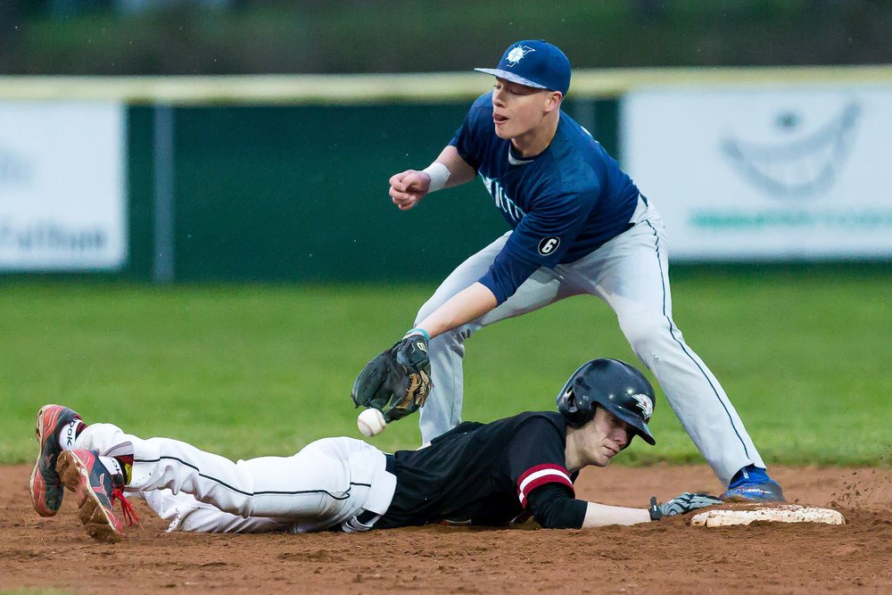 Victoria Eagles alum Brody Stark (Victoria, B.C.), shown sliding back into the base in this photo, had two home runs and a 2.100 OPS for Lake Region State this past week. Photo: Christian J. Stewart/ISN