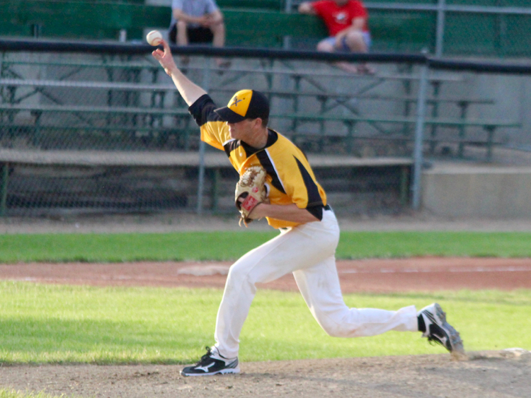 Great Lake Canadians and Moose Jaw Miller Exporess alum Jesse Marks (Sarnia, Ont.) had two scoreless relief appearances for Adrian. Photo: Moose Jaw Miller Express