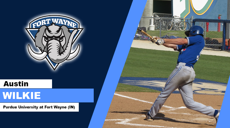 Ontario Blue Jays alum Austin Wilkie had four hits and four walks in four games for the Fort Wayne Mastodons. Photo: Ontario Blue Jays