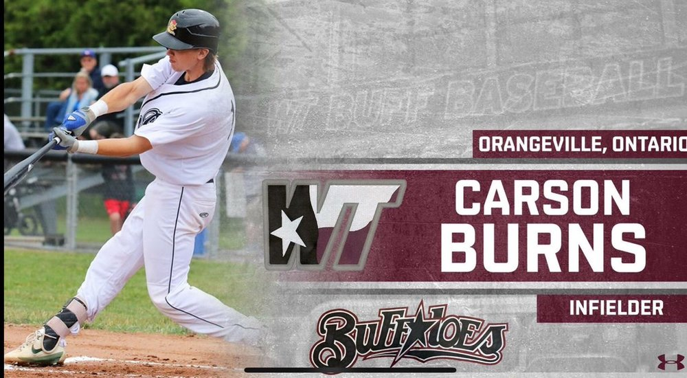 Ontario Nationals grad Carson Burns (Orangeville, Ont.) went 9-for-17 (.529 batting average) for the Western Texas Buffaloes.