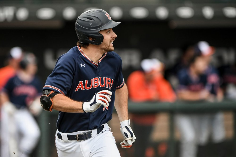 ABC and Junior National Team alum Edouard Julien (Quebec City, Que.) had a double for the Auburn Tigers in their 7-0 win over Texas A&M on Saturday. Photo: Auburn Athletics