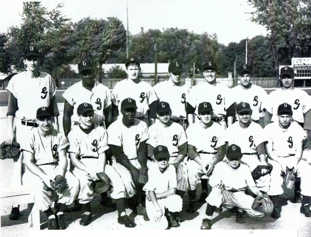 """Ex-Negro League players Ed Steele (standing) and Gentry """"Jeep"""" Jessup (sitting) pictured here with The Galt Terriers circa 1953. Photo supplied by Ed Heather"""