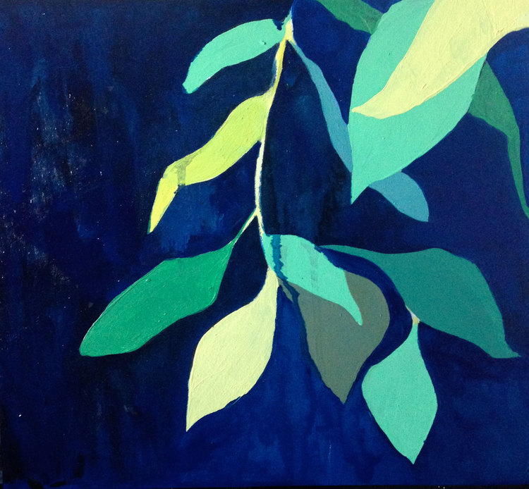 foliage: blue I  oil on wood  2015   sold