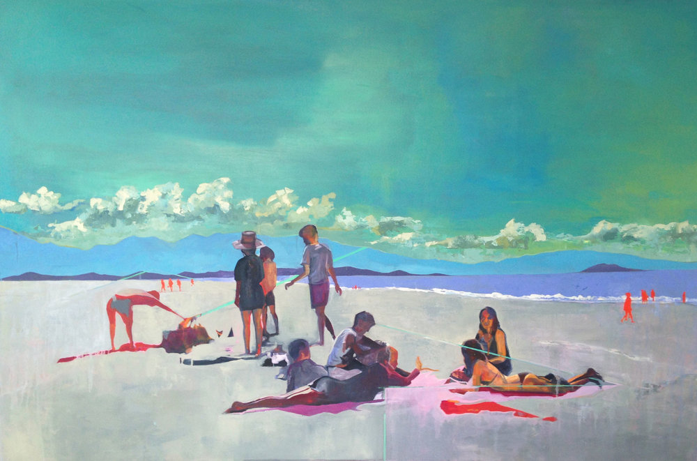 beach people  in collaboration with Erika Burleigh  oil on canvas  2014   sold