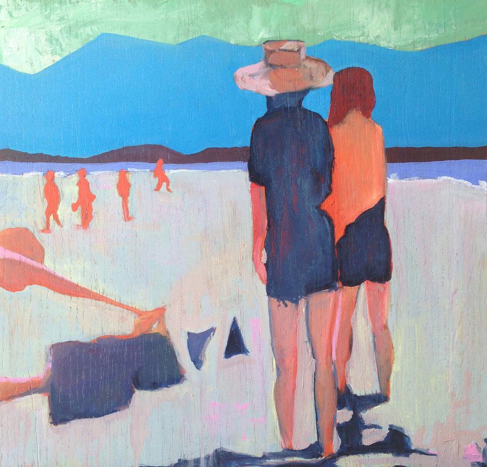 beach watchers  oil on wood  2014