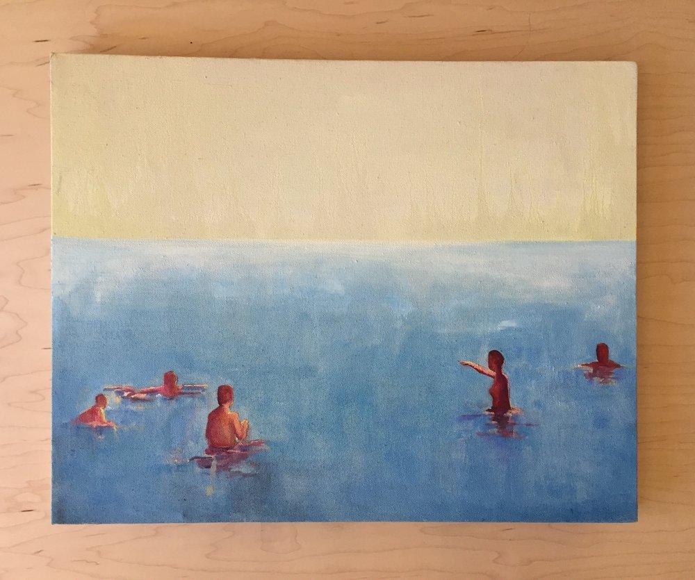beach bathers  oil on canvas
