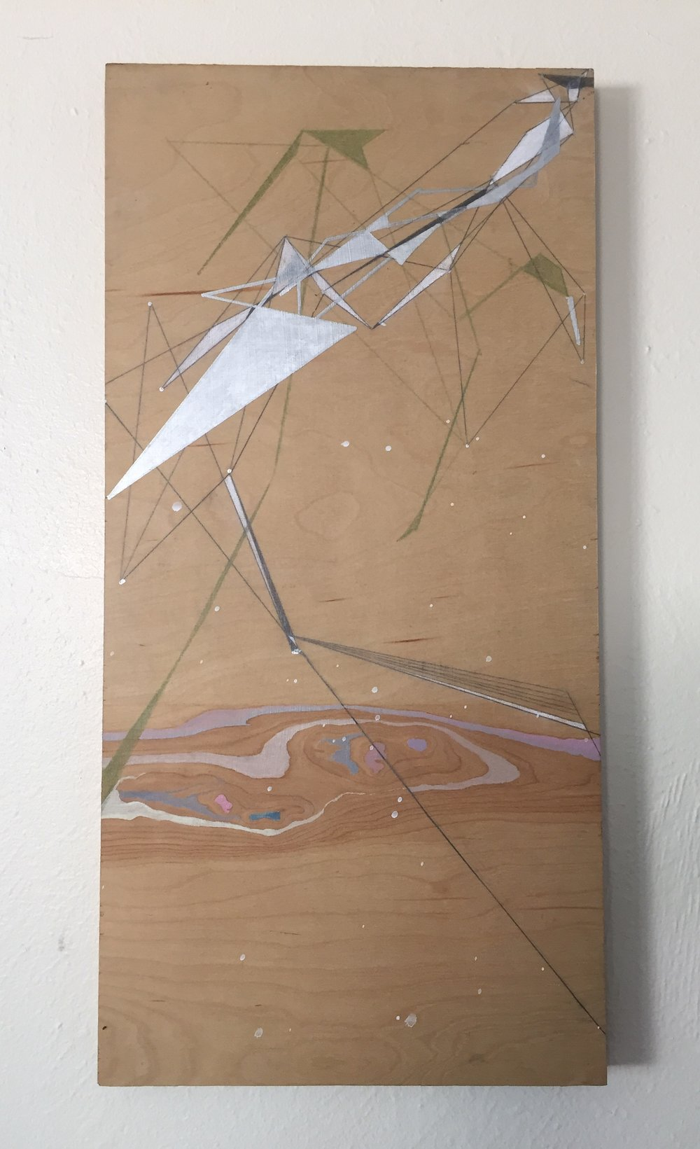 land angles: creature  mixed media on wood  2012