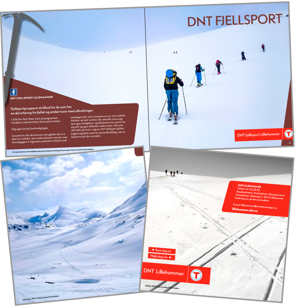 Den Norske Turistforening (The Norwegian Trekking Association) used several of my photos for their printed 2016 program.