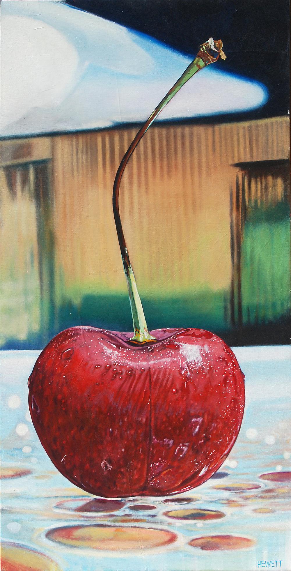 Single Cherry on Glass
