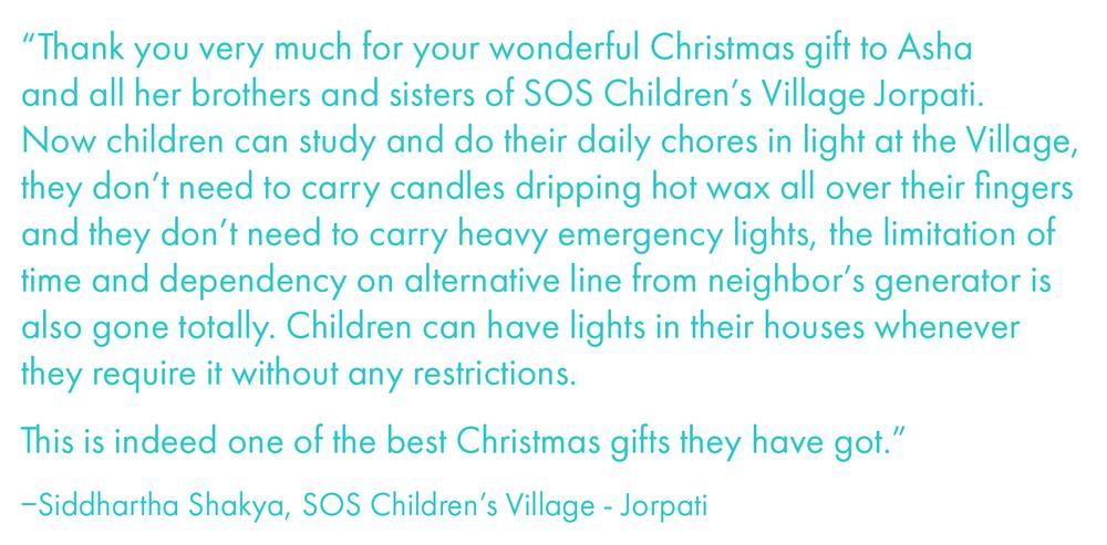 Siddhartha Shakya, SOS Children's Village Jorpati Solar