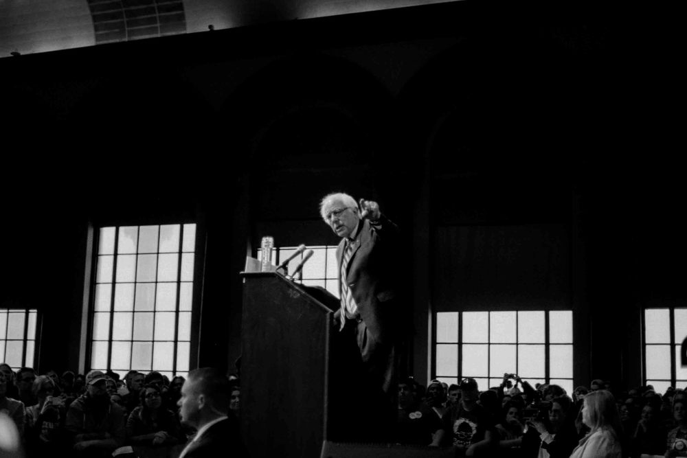 Senator Bernie Sanders at his rally at Boardwalk Hall in Atlantic City, NJ  Shot on 35mm Film