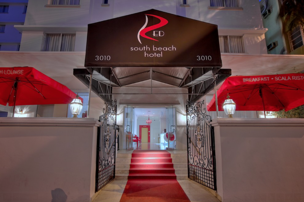 red hotel entrance