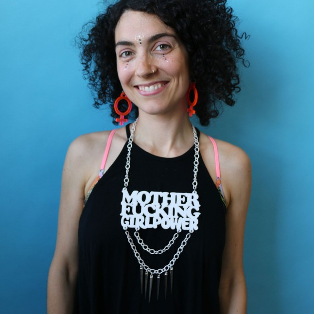 "The ""MoFo Girl Power"" Necklace by Corrine Loperfido, $62"