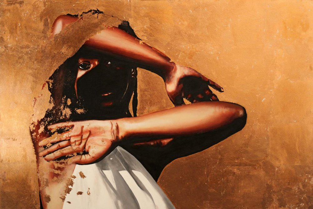 In the morning, I am all I ever wanted to be , copper and acrylic on wood panel, 24x36 inches, Dawn Okoro