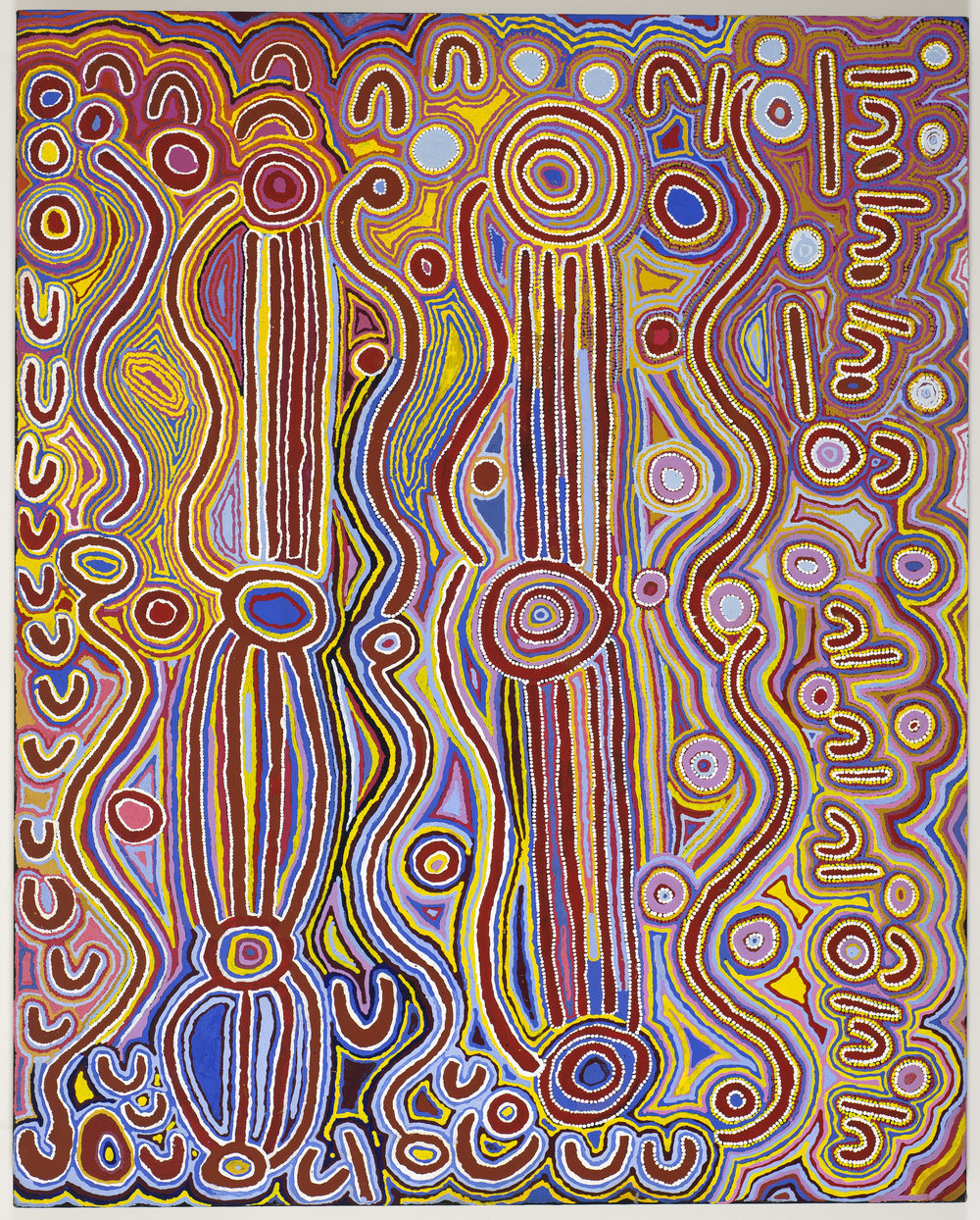 Yuendumu Women's Collaborative   Mina Mina Jukurrpa  (Mina Mina Dreaming), 1999  Synthetic polymer paint on canvas  59 1/16 x 47 1/4 in.  Promised gift of Margaret Levi and Robert Kaplan to the Seattle Art Museum  © 2018 Artists Rights Society (ARS), New York / VISCOPY, Australia, Courtesy American Federation of Arts