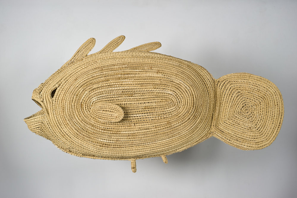 Yvonne Koolmatrie   Pondi  (Murray River Cod), 2003  Native spiny sedge grass  27 3/16 x 47 5/8 x 7 1/16 in.  Promised gift of Margaret Levi and Robert Kaplan to the Seattle Art Museum  © Yvonne Koolmatrie, Aboriginal and Pacific Art Sydney, Courtesy American Federation of Arts