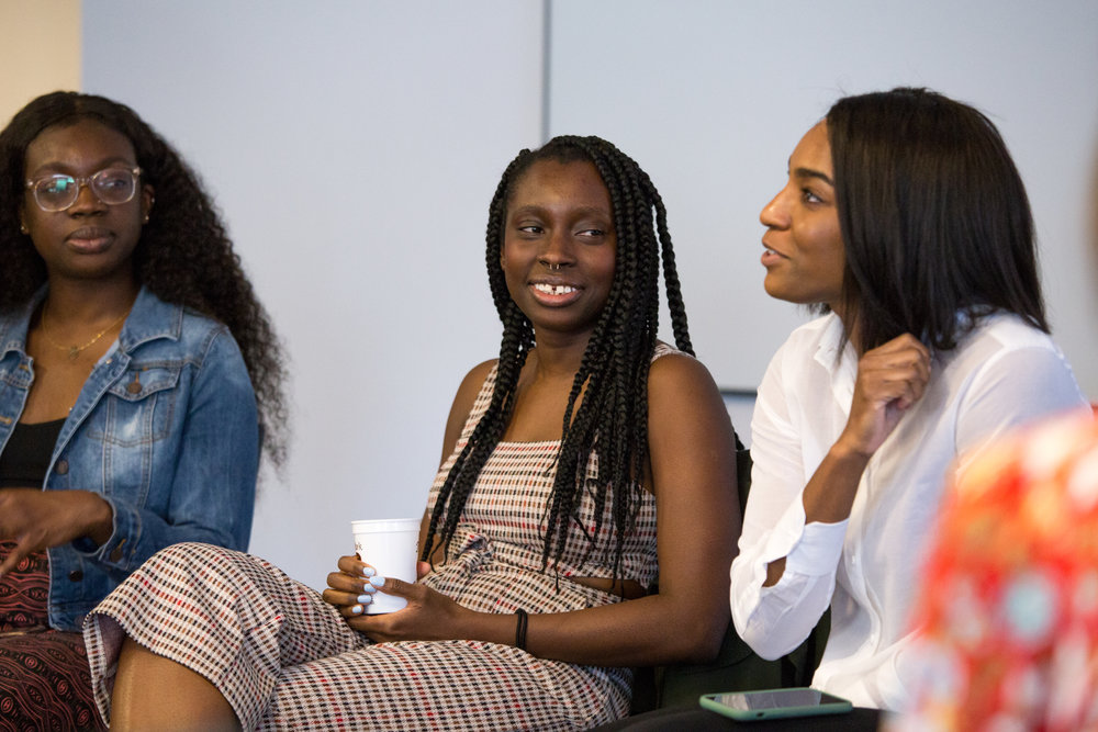 Doyin Oyeniyi (middle) and Mercy Emelike (far right) lead the discussion. Photo by  Whitney Devin.