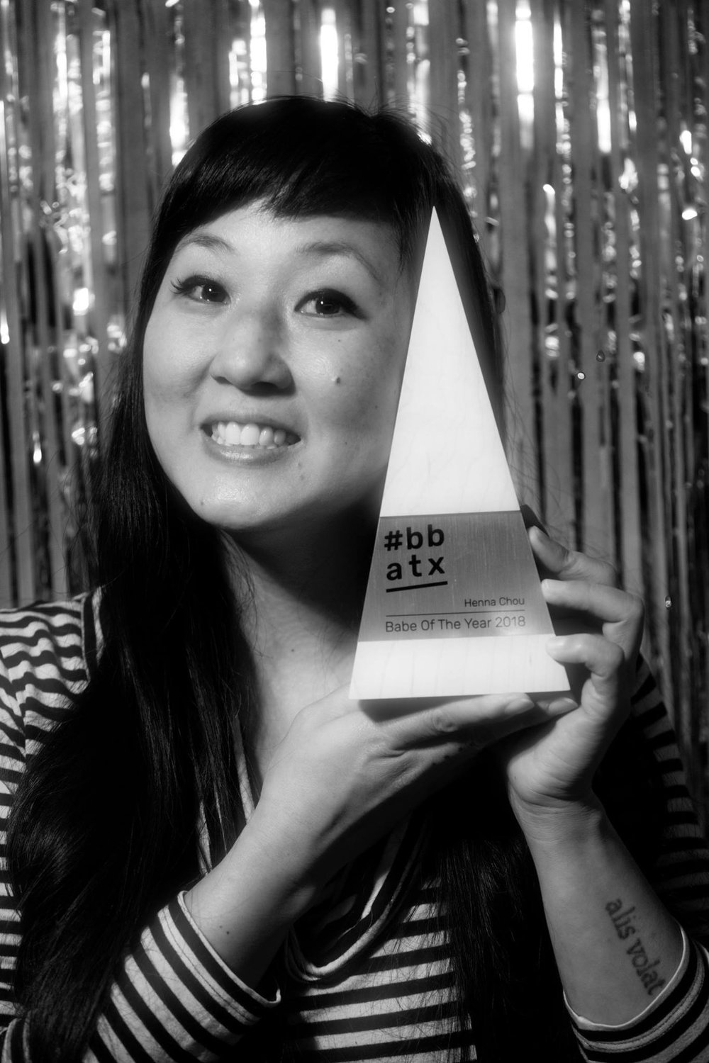 Henna Chou (pictured) with her custom Babe of the Year trophy by  Trophyology . Photo by Jinni J