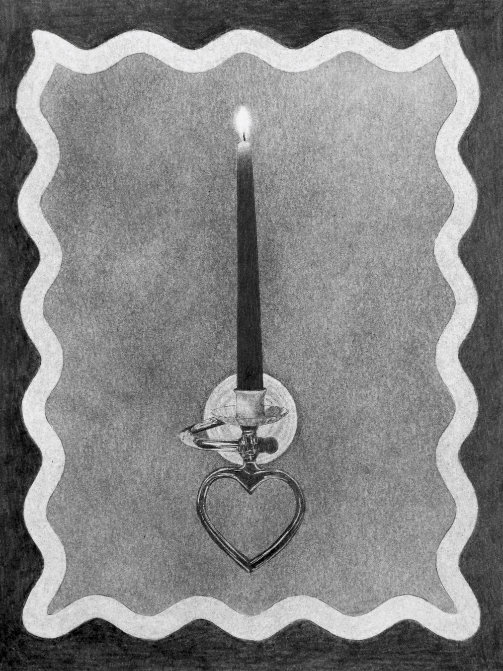 Sconce , 2018. Graphite on paper (original). Ashley Elaine Thomas.  Ashley Elaine Thomas  is a visual artist whose work memorializes everyday overlooked objects through large-scale graphite drawings on paper. She received an MFA from the School of the Art Institute of Chicago in 2011, and currently teaches drawing and design at Del Mar College and Texas A&M University-Corpus Christi.