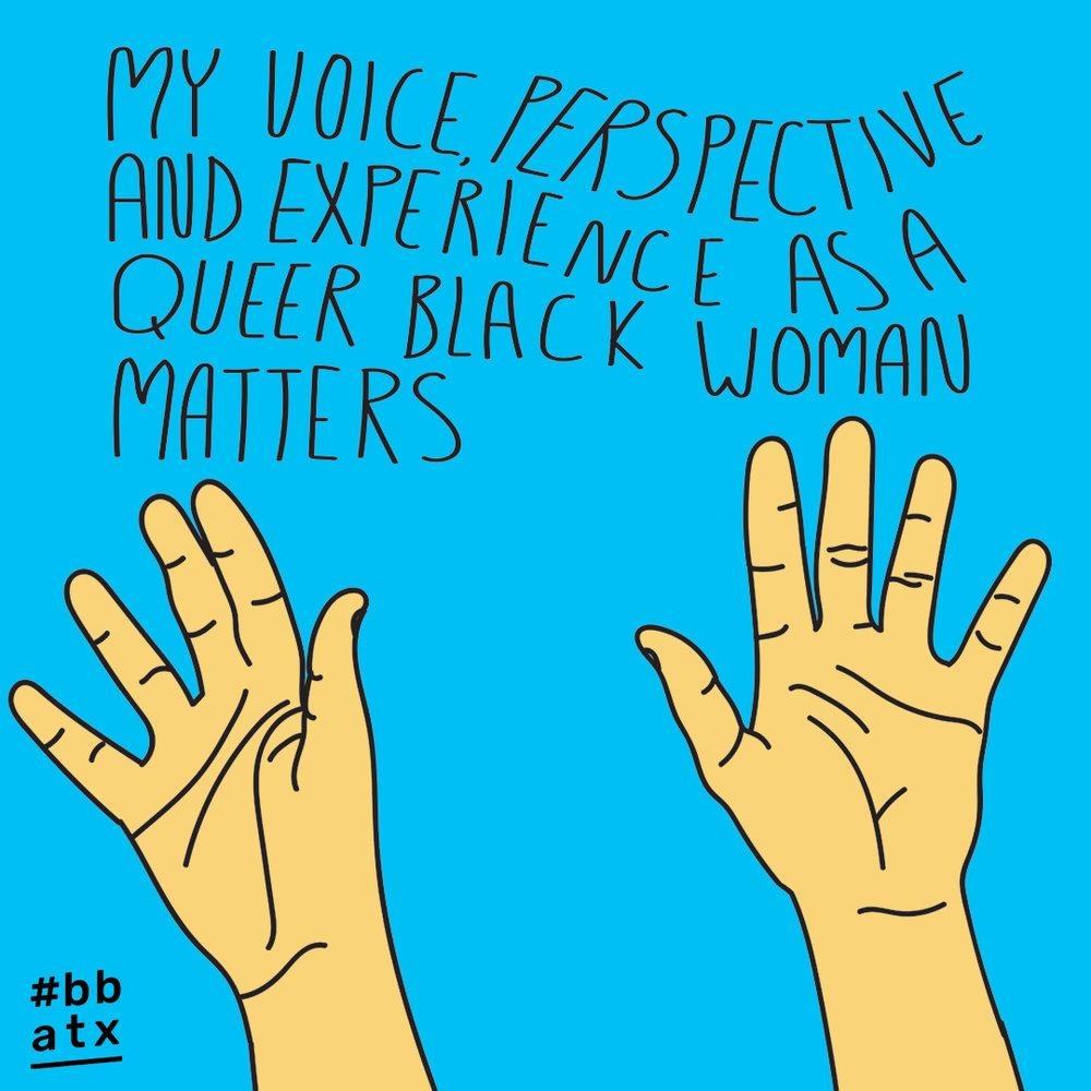 words by Briona Jenkins (LGBTQIA+ activist and SOTU 2019 speaker) // illustration by Jasmine Brooks (artist and #BBATX board member)