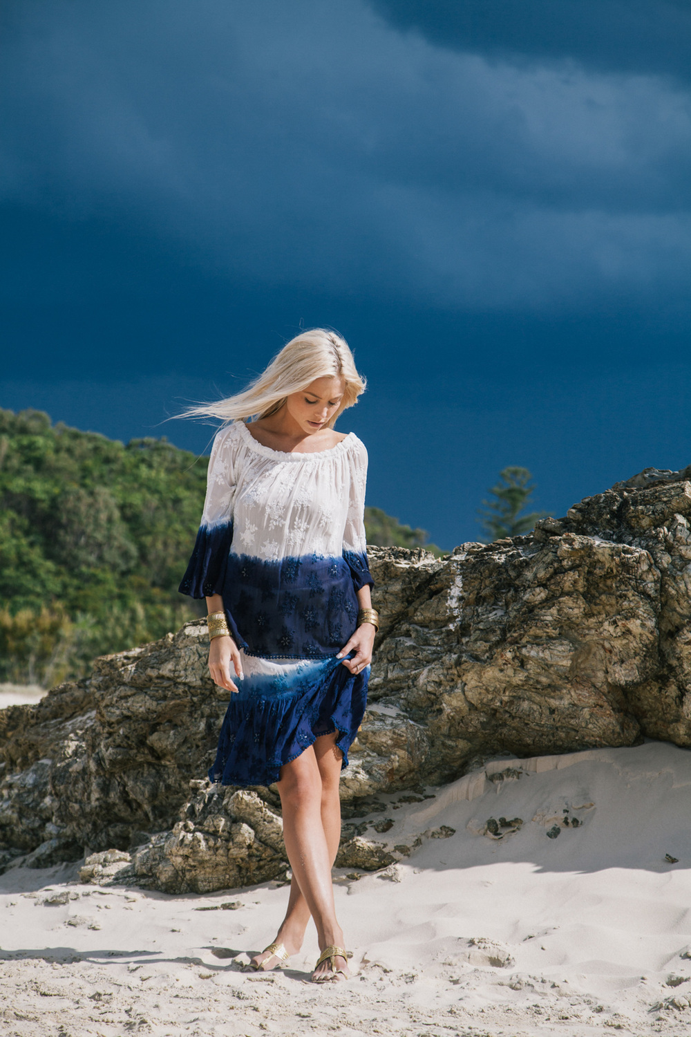 Georgette Dip Dye Alana Top Navy with Georgette Dip Dye Olivia Skirt Navy