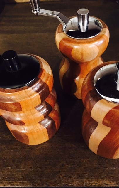 Handmade Salt/Pepper Grinders $15. While supplies last.
