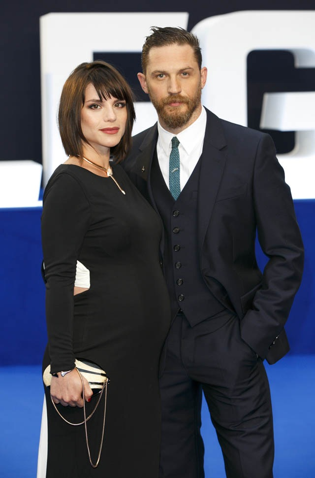 "Tom Hardy and Charlotte Riley at the London premiere of ""Legend"""