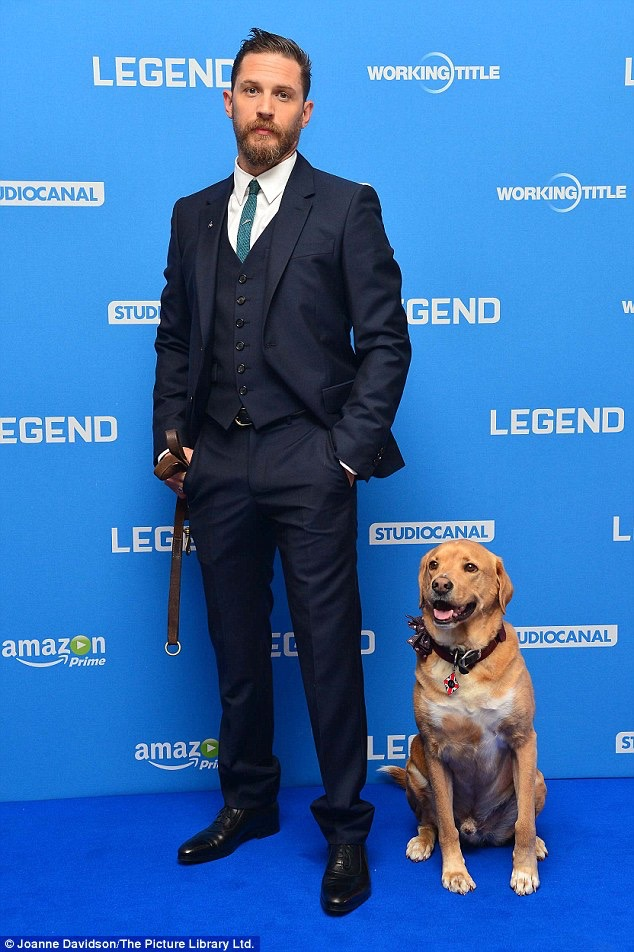 Tom Hardy and his dog Woody in custom Alexander McQueen