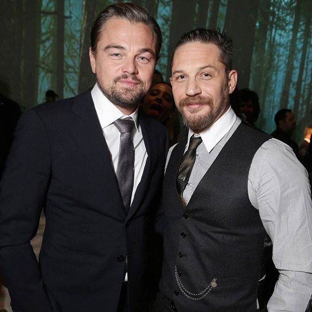 "Tom Hardy at the US premiere of ""The Revenant"" wearing custom Gucci"