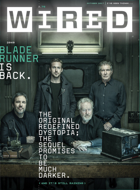"Denis Villeneuve, Ryan Gosling, Ridley Scott and Harrison for for ""Wired""  ""Bladerunner 2049""  Photo: Dan Winters"
