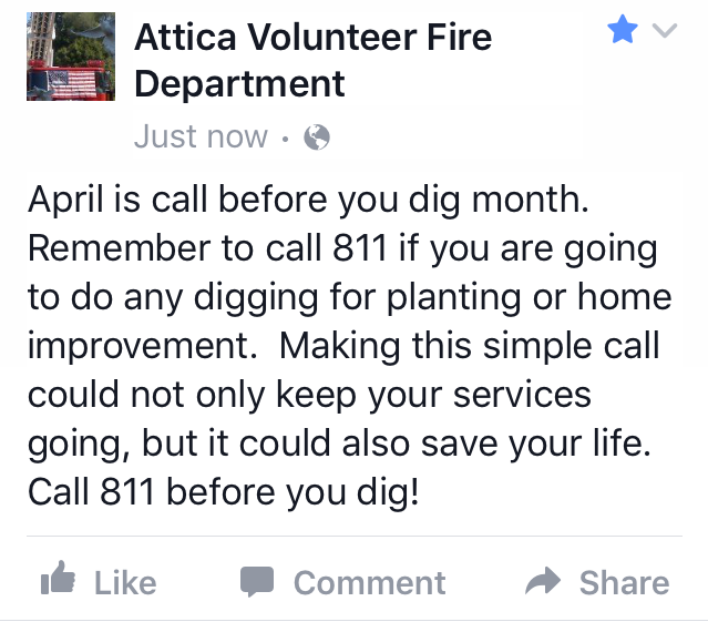Attica Volunteer Fire Dept. Facebook